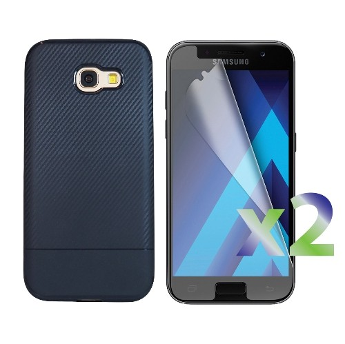 Exian Samsung Galaxy A5 2017 Screen Protectors X 2 and TPU Case Carbon Fiber Back Navy