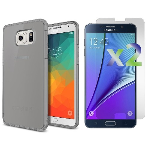 Exian Samsung Galaxy Note 5 Screen Protectors x 2 and TPU Slim Case Transparent Grey