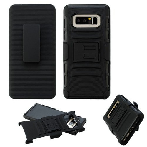Insten For Samsung Galaxy Note 8 Black Advanced Armor Hard Hybrid Case Cover w/stand