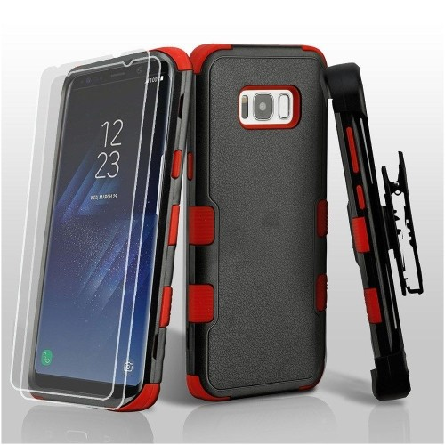 Insten For Samsung Galaxy S8 Plus Red Black Hard TPU Hybrid Plastic Case Holster