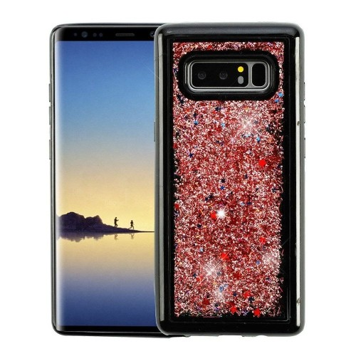 Insten For Samsung Galaxy Note 8 Rose Gold Confetti Quicksand Glitter Hard Hybrid Case