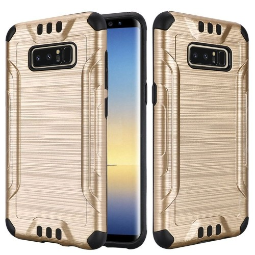 Insten For Samsung Galaxy Note 8 Gold Black Hard TPU Hybrid Brushed Case Cover