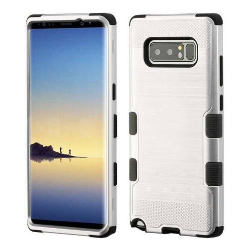 Insten For Samsung Galaxy Note 8 Silver Black Tuff Hard TPU Hybrid Brushed Case