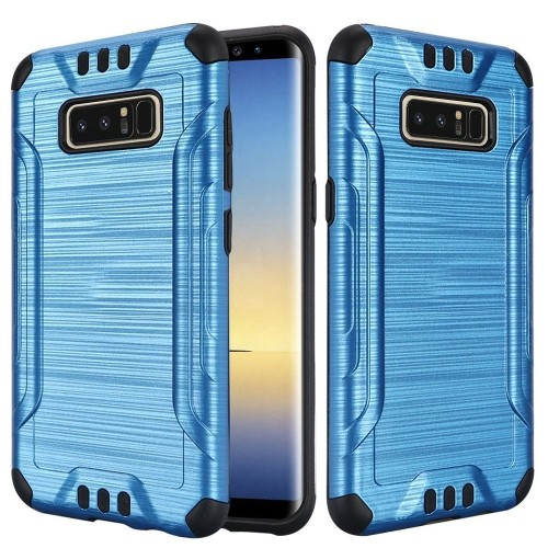 Insten For Samsung Galaxy Note 8 Blue Black Hard TPU Hybrid Brushed Case Cover