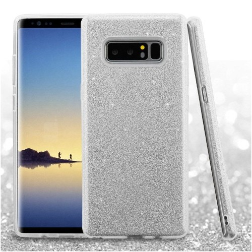 Insten For Samsung Galaxy Note 8 Silver Glitter Hard TPU Hybrid Plastic Case
