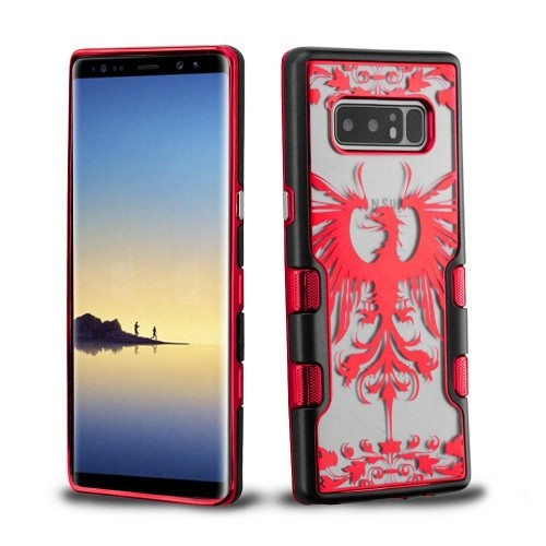 Insten For Samsung Galaxy Note 8 Red Black Eagle Crest Tuff Hard TPU Hybrid Case
