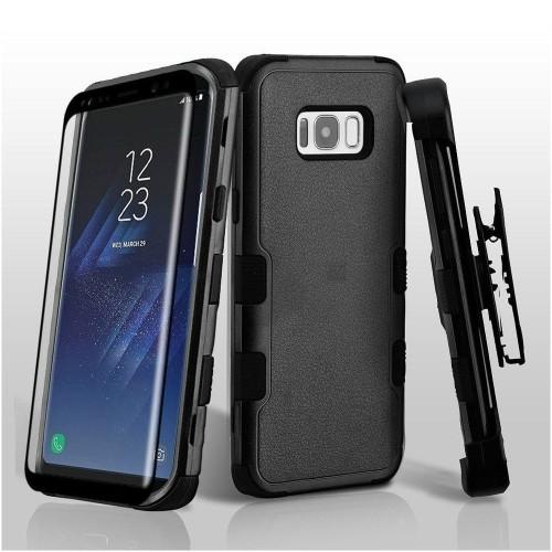 Insten For Samsung Galaxy S8 Black Tuff Hard TPU Hybrid Plastic Case Cover Holster