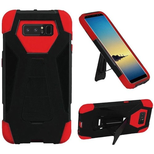 Insten For Samsung Galaxy Note 8 Black Red Hard Silicone Hybrid Case Cover w/stand