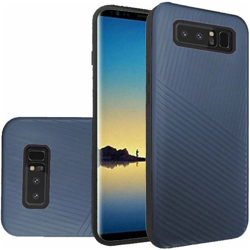 Insten For Samsung Galaxy Note 8 Dark Blue Embossed Lines Hard TPU Hybrid Case Cover