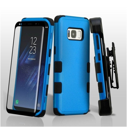 Insten For Samsung Galaxy S8 Blue Black Tuff Hard TPU Hybrid Plastic Case Cover Holster