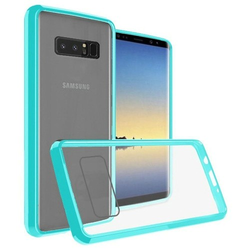 Insten For Samsung Galaxy Note 8 Clear Teal Bumper Hard TPU Plastic Case