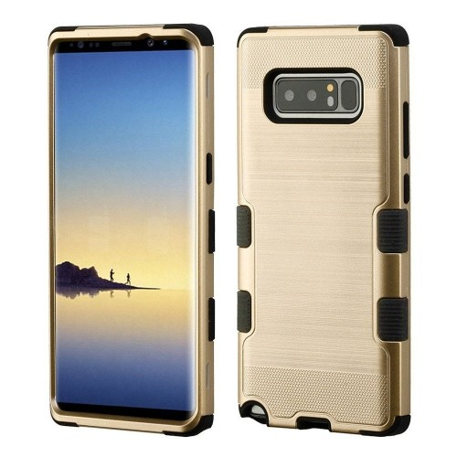 Insten For Samsung Galaxy Note 8 Gold Black Tuff Hard TPU Hybrid Brushed Case