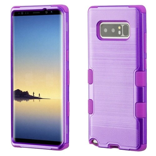 Insten For Samsung Galaxy Note 8 Purple Tuff Hard TPU Hybrid Brushed Case