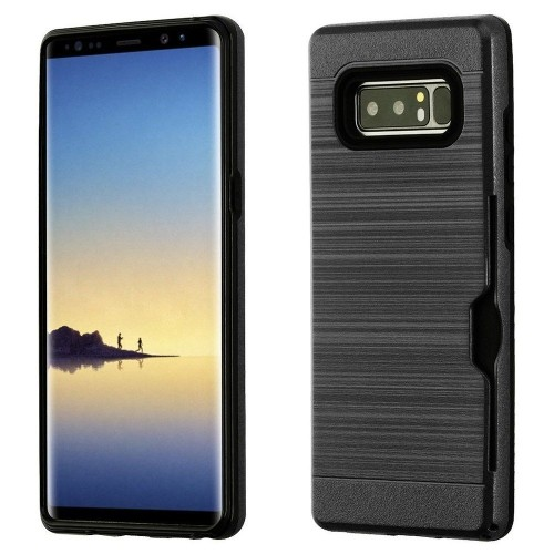 Insten For Samsung Galaxy Note 8 Black Hard TPU Hybrid Brushed Case