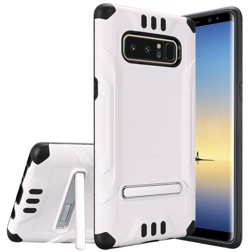 Insten For Samsung Galaxy Note 8 White Black Hard Hybrid Shockproof Case Cover w/stand