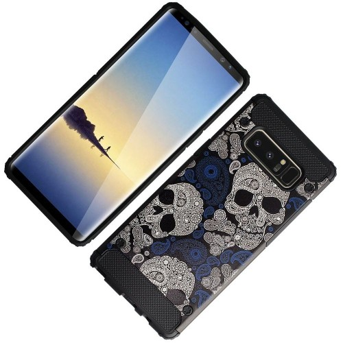 Insten For Samsung Galaxy Note 8 Black Blue Skulls & Bones Hard TPU Hybrid Plastic Case