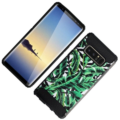 Insten For Samsung Galaxy Note 8 Green Black Leaves Hard TPU Hybrid Plastic Case Cover