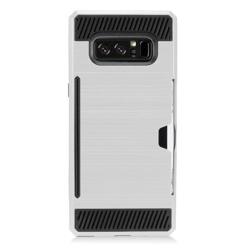 Insten For Samsung Galaxy Note 8 Silver Black Hard TPU Hybrid Brushed Case Cover