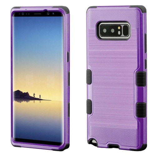 Insten For Samsung Galaxy Note 8 Purple Black Tuff Hard TPU Hybrid Brushed Case Cover