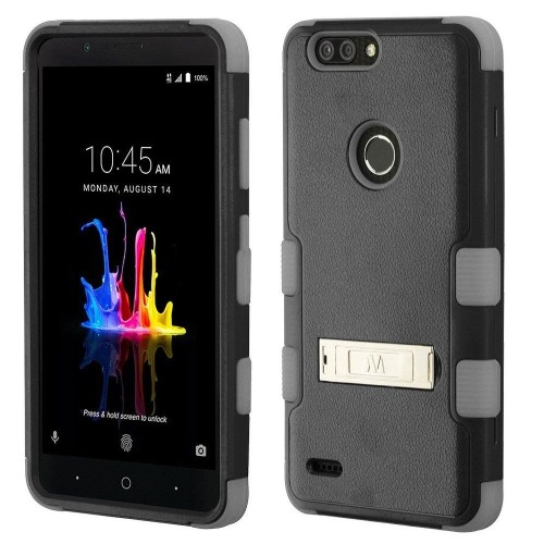 Insten For ZTE Blade Z Max/Sequoia Black Gray Tuff Hard TPU Hybrid Case Cover w/stand
