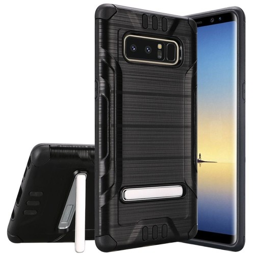 Insten For Samsung Galaxy Note 8 Black Hard TPU Hybrid Shockproof Case Cover w/stand