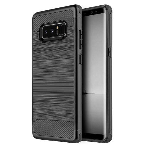 Insten For Samsung Galaxy Note 8 Black Carbon Tech Silk Hard TPU Hybrid Case Cover