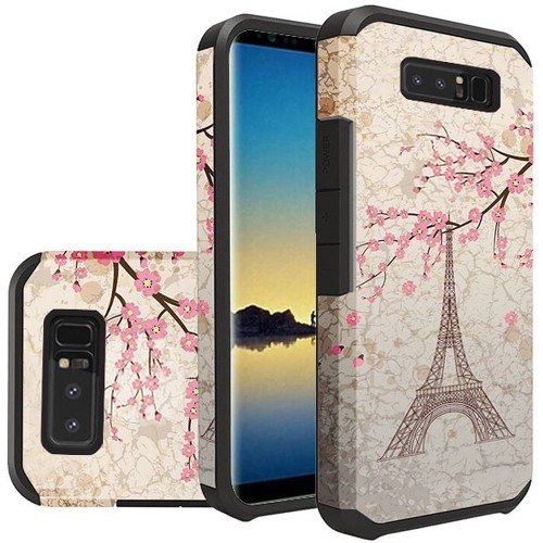 Insten For Samsung Galaxy Note 8 Multi-Color Vintage Eiffel Tower Hard Hybrid Case Cover