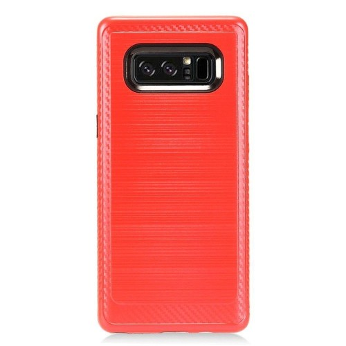 Insten For Samsung Galaxy Note 8 Red Black Hard TPU Hybrid Brushed Case