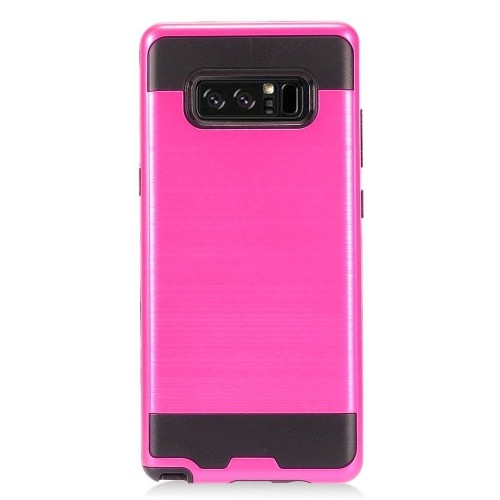 Insten For Samsung Galaxy Note 8 Hot Pink Black Hard Hybrid Brushed Case Cover