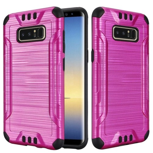 Insten For Samsung Galaxy Note 8 Hot Pink Black Hard TPU Hybrid Brushed Case Cover