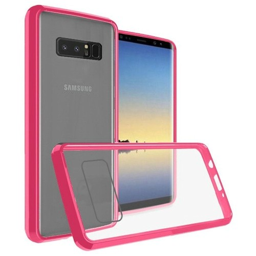 Insten For Samsung Galaxy Note 8 Clear Hot Pink Bumper Hard TPU Plastic Case