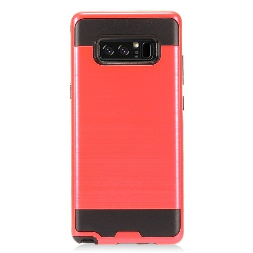 Insten For Samsung Galaxy Note 8 Red Black Hard Hybrid Brushed Case