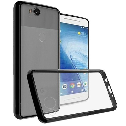 Insten For Google Pixel 2 Clear Black Hard TPU Hybrid Plastic Case