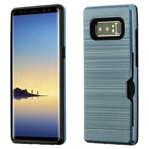 Insten For Samsung Galaxy Note 8 Grayish Blue Black Hard TPU Hybrid Brushed Case Cover