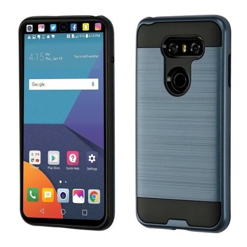 Insten For LG V30 Grayish Blue Black Hard TPU Hybrid Brushed Case