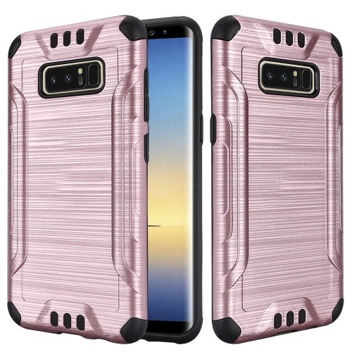 Insten For Samsung Galaxy Note 8 Silver Black Hard TPU Hybrid Brushed Case