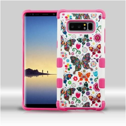 Insten For Samsung Galaxy Note 8 Multi-Color Butterfly Wonderland Tuff Hard Hybrid Case