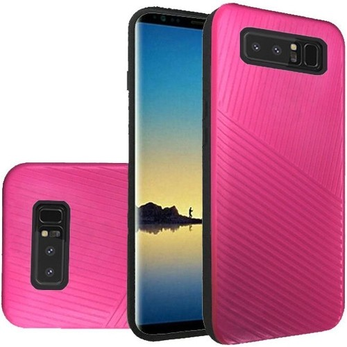 Insten For Samsung Galaxy Note 8 Hot Pink Embossed Lines Hard TPU Hybrid Plastic Case