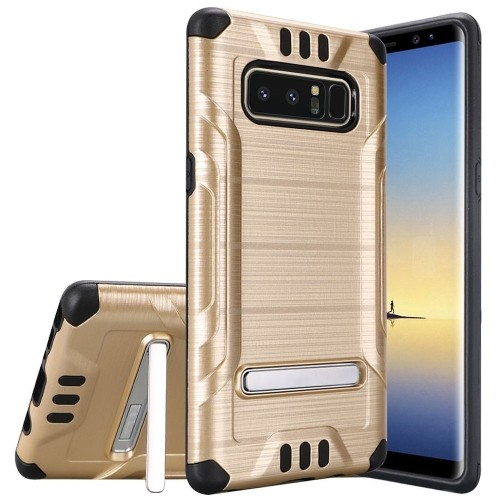Insten For Samsung Galaxy Note 8 Gold Black Hard Hybrid Shockproof Case Cover w/stand