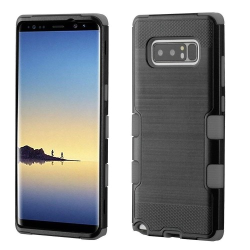 Insten For Samsung Galaxy Note 8 Black Gray Tuff Hard TPU Hybrid Brushed Case Cover