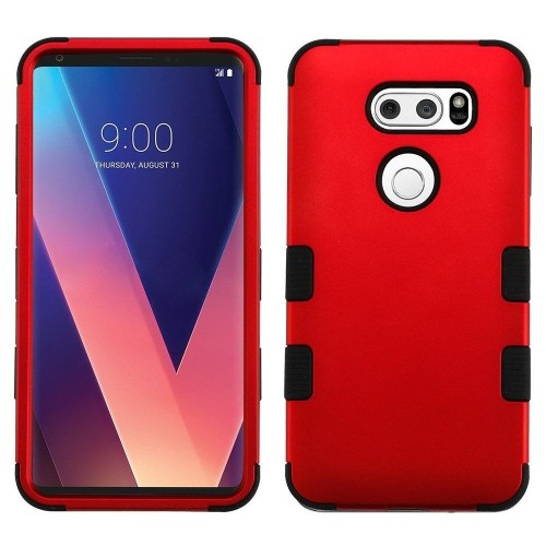 Insten For LG V30 Red Black Tuff Hard TPU Hybrid Metallic Case Cover
