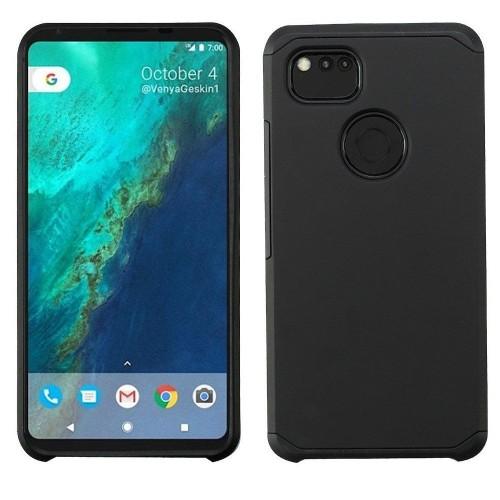 Insten For Google Pixel 2 XL Black Hard TPU Hybrid Plastic Case Cover