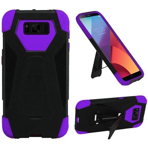 Insten For Samsung Galaxy S8 Active Black Dark Purple Hard Hybrid Case Cover w/stand