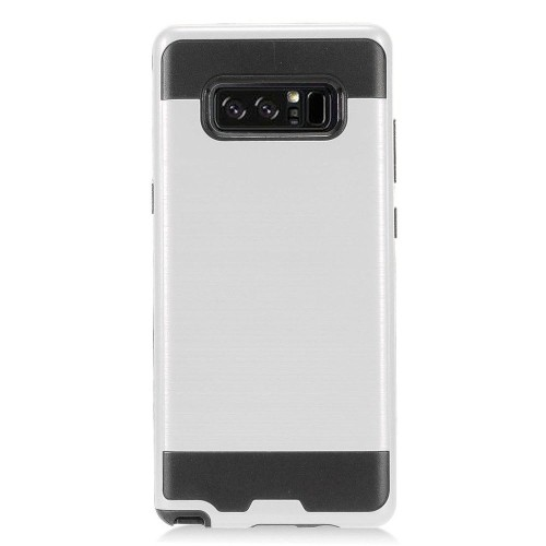 Insten For Samsung Galaxy Note 8 Silver Black Hard Hybrid Brushed Case