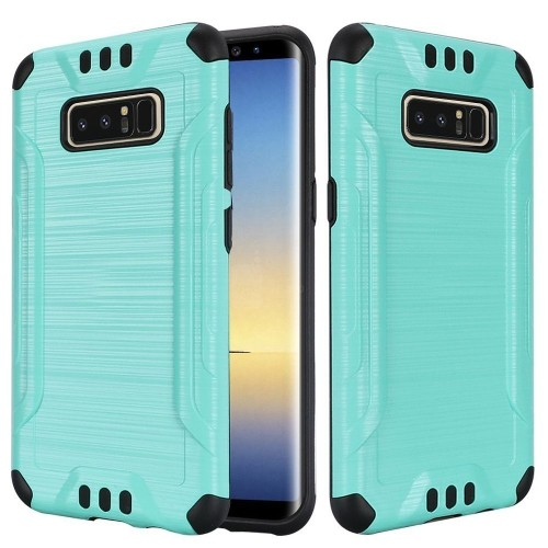 Insten For Samsung Galaxy Note 8 Teal Black Hard TPU Hybrid Brushed Case
