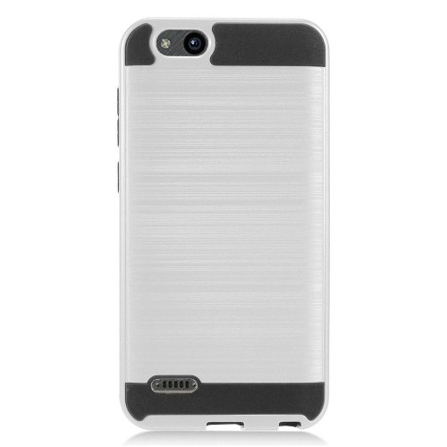 competitive price 8bf91 ee24d Insten For ZTE Blade Vantage Tempo X Silver Black Hard TPU Hybrid Brushed  Case Cover - Online Only