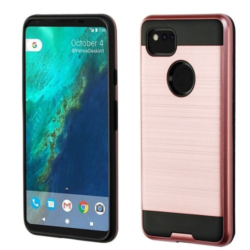 Insten For Google Pixel 2 XL Rose Gold Black Hard TPU Hybrid Brushed Case Cover