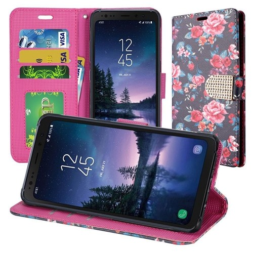 Insten For Samsung Galaxy S8 Active Multi-Color Tropical Flowers Leather Case w/stand