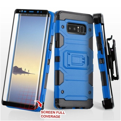 Insten For Samsung Galaxy Note 8 Blue Black Hard TPU Hybrid Case Cover w/stand Holster