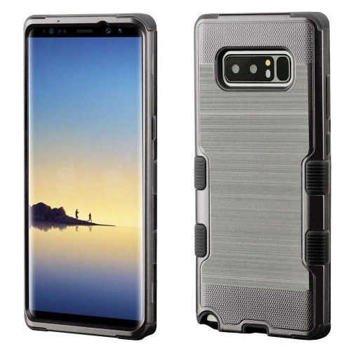 Insten For Samsung Galaxy Note 8 Gray Black Tuff Hard TPU Hybrid Brushed Case